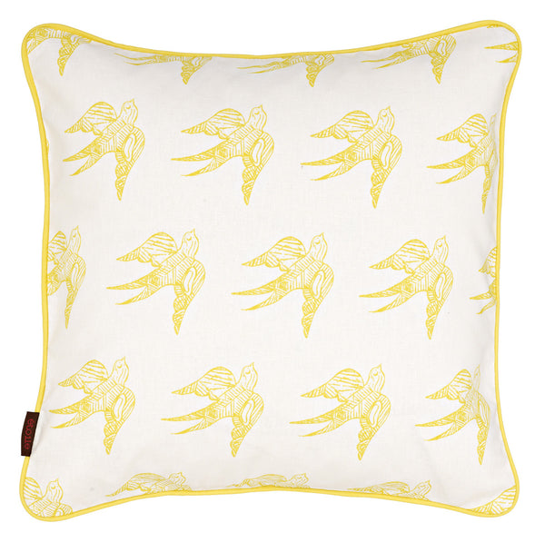 Katia Swallow Bird Pattern Linen Cushion in Bright Maize Yellow 45x45cm