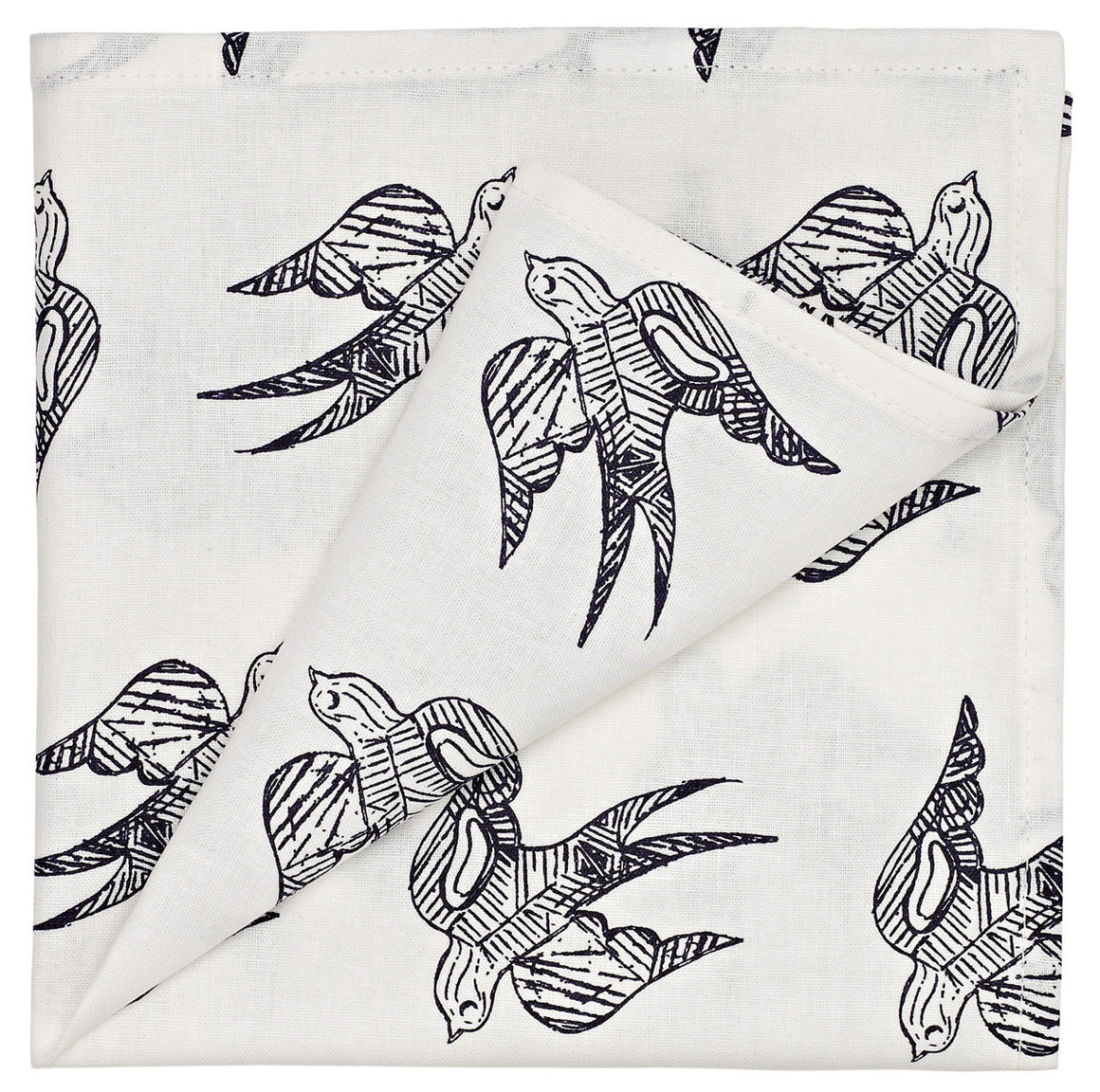 Katia Swallow Pattern Linen Napkin in Dark Aubergine Purple