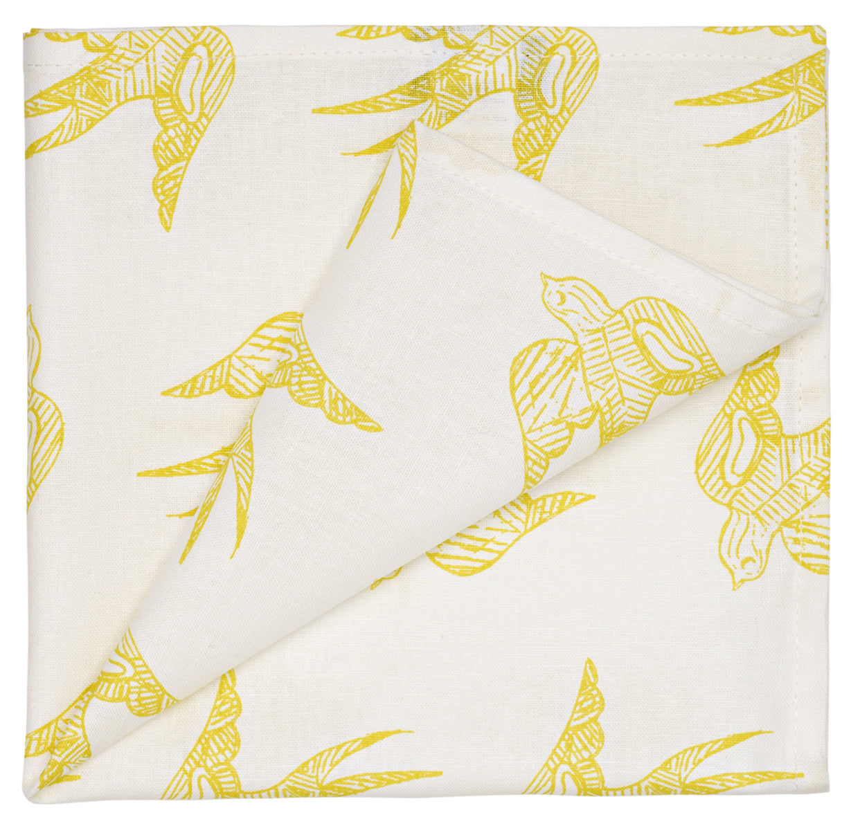 Katia Swallow Pattern Linen Napkins in Bright Maize Yellow