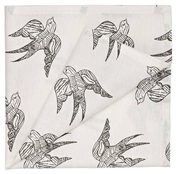 Katia Swallow Pattern Linen Napkins in Stone Grey