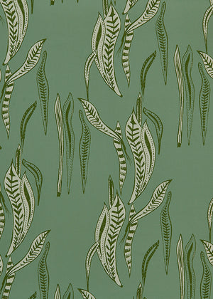 Kelp pattern home interior fabric for curtains, blinds and upholstery in Sea Foam and Olive Green ships from Canada to USA cotton linen