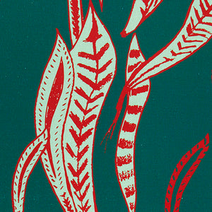 Kelp pattern home decor interiors fabric for curtains, blinds and upholstery in dark petrol blue and geranium red ships from Canada to USA