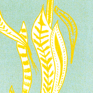 Kelp Home decor interior fabric for curtains, blinds, upholstery in Pale winter blue and mustard yellow ships from Canada worldwide including the USA