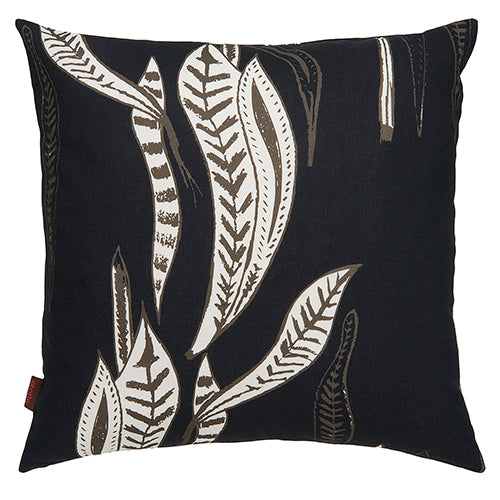 Kelp-seaweed-pattern-large-throw-decorative-pillow-black-grey and white. Ships from canada worldwide including the USA