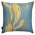 Kelp seaweed pattern decorative throw pillow in pale Winter blue and mustard yellow ships from canada worldwide including the USA