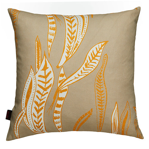 "Kelp-seaweed-pattern-large-throw-pillow-beige-earth-maize-55x55cm-22""-canada-usa"
