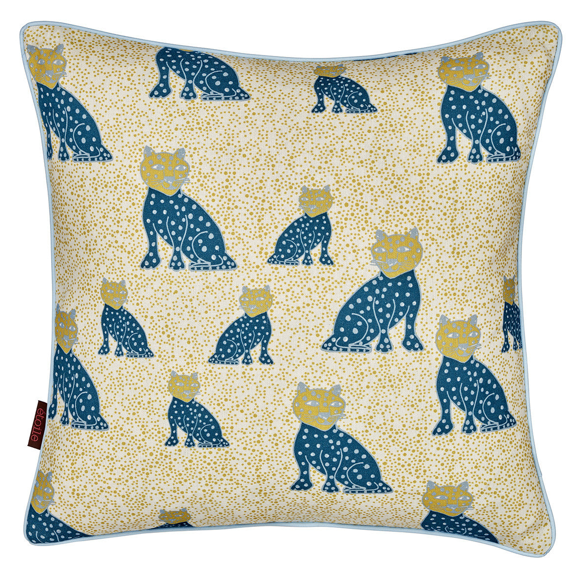 Graphic Leopard Pattern Linen Union Printed Cushion In Dark Petrol Blue, Light Blue & Mustard Yellow
