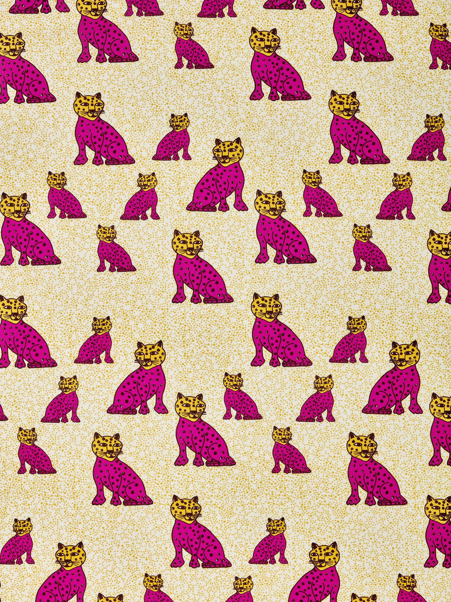 Graphic Leopard Pattern Printed Linen Cotton Canvas Fabric in Fuchsia Pink & Mustard Yellow