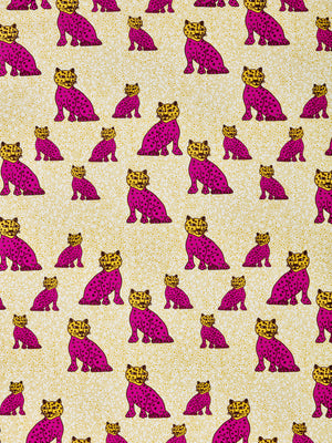 Graphic Leopard Pattern Printed Linen Cotton Canvas Designer Home Decor Fabric by the meter or by the yard for curtains, blinds, upholstery in Fuchsia Pink & Mustard Yellow ships from Canada (USA)
