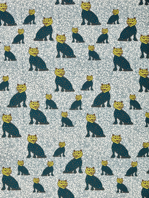 Graphic Leopard Pattern Printed Linen Cotton Canvas Home Decor Fabric by the meter or by the yard for curtains, blinds or upholstery in Petrol Blue and Chartreuse Yellow ships from Canada (USA)