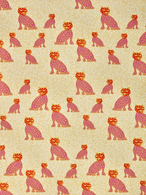 Graphic Leopard Pattern Printed Linen Cotton Canvas Home Decor Fabric by meter or yard for curtains, blinds, upholstery in Coral Pink, Pumpkin Orange & Yellow ships from Canada (USA)