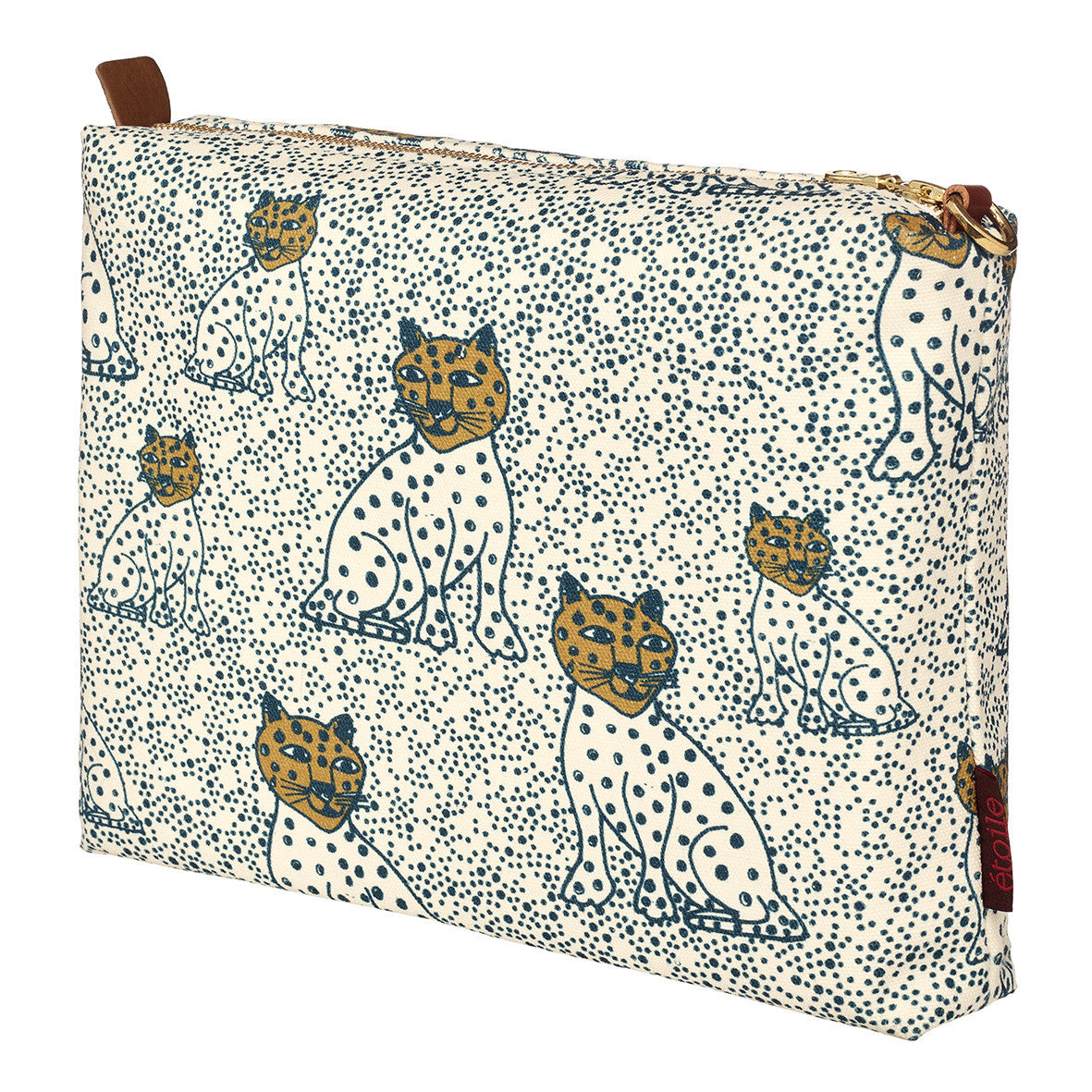 Graphic Leopard Pattern Cotton Canvas Vanity Bag in Petrol Blue & Gold