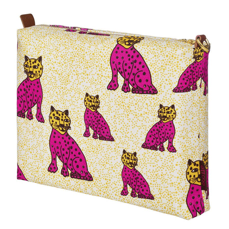Graphic Leopard Pattern Cotton Canvas Travel Vanity Bag In Fuchsia Pink and Mustard Yellow Perfect for all your beauty and cosmetics items while travelling or at home Ships from Canada (USA)