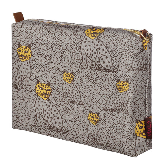 Graphic Leopard Pattern Cotton Canvas Vanity Bag in Dove Grey and Saffron Yellow