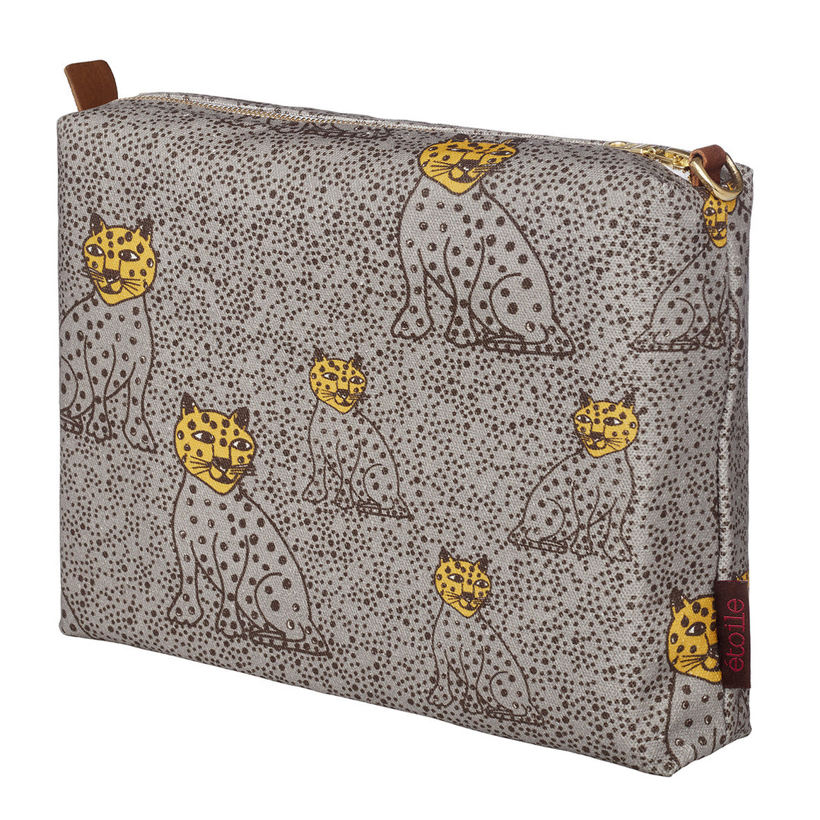 Graphic Leopard Pattern Cotton Canvas Vanity Travel Bag in Dove Grey and Saffron Yellow Perfect for all your beauty and cosmetics when travelling or at home Ships from Canada (USA)