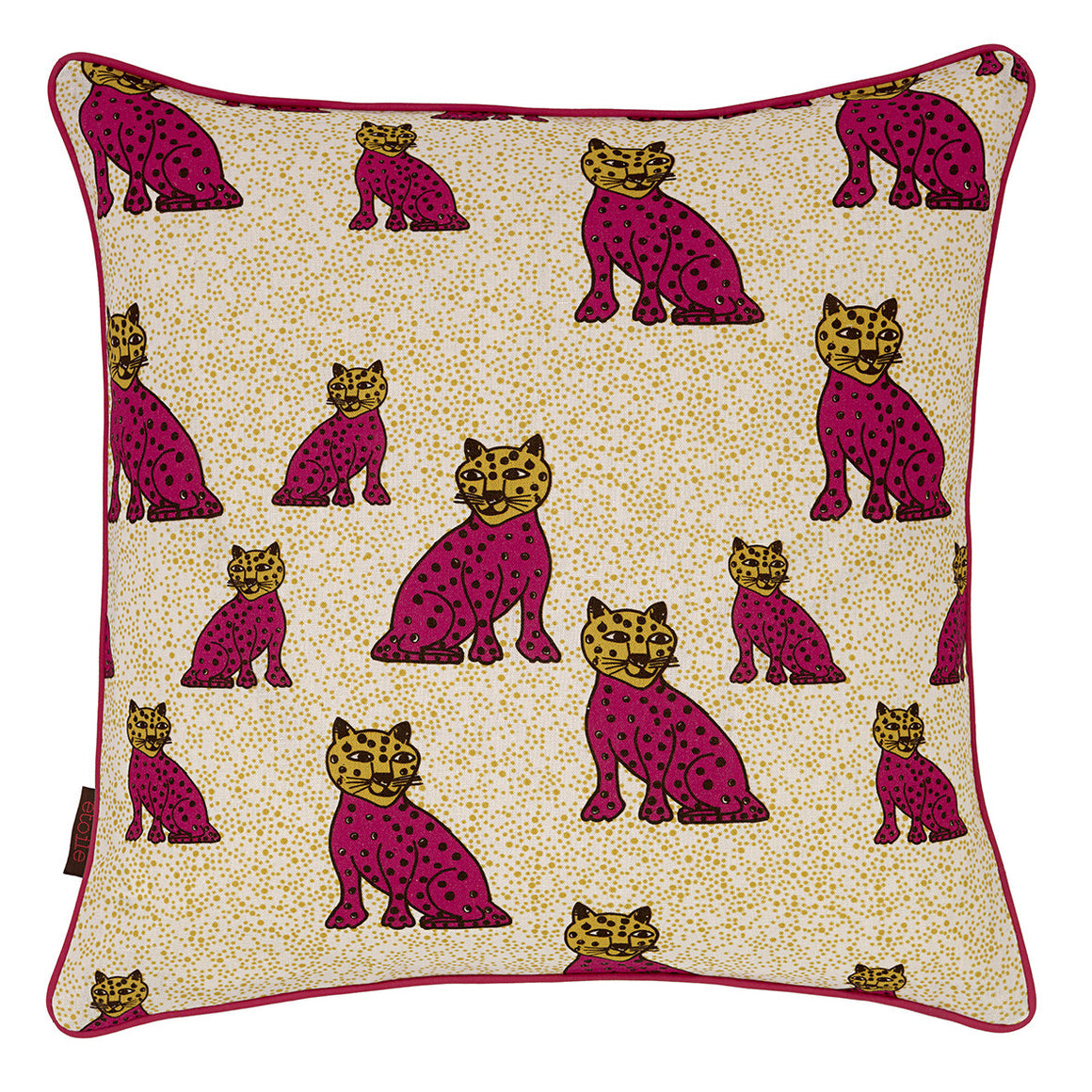 "Graphic Leopard Pattern Linen Union Printed Cushion in Fuchsia Pink & Chocolate Brown 45x45cm (18x18"" pillow)"