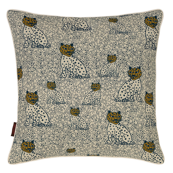 "Graphic Leopard Pattern Linen Union Printed Cushion in Petrol Blue and Gold 45x45cm (18x18"")"