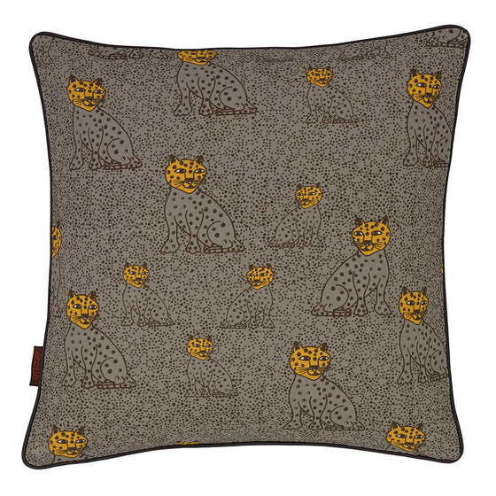 "Graphic Leopard Pattern Linen Union Printed Cushion in Dove Grey & Saffron Yellow 45x45cm (18x18"")"