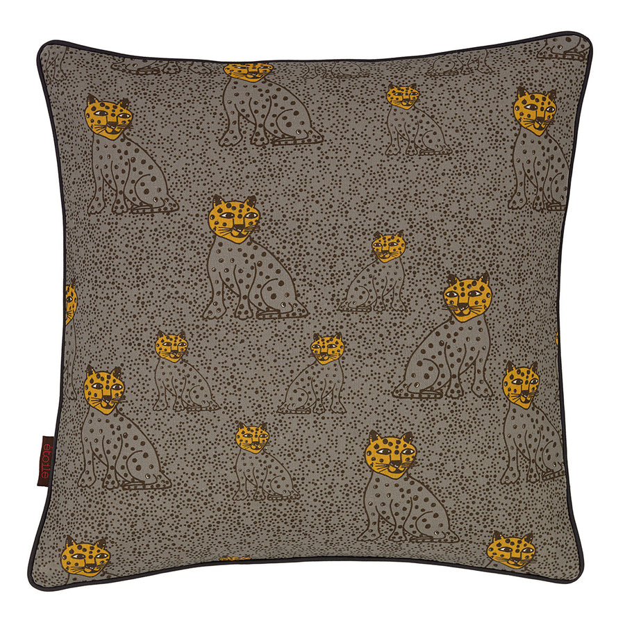 "Graphic Leopard Pattern Linen Union Printed Decorative Throw Pillow in Dove Grey & Saffron Yellow 45x45cm (18x18"")"
