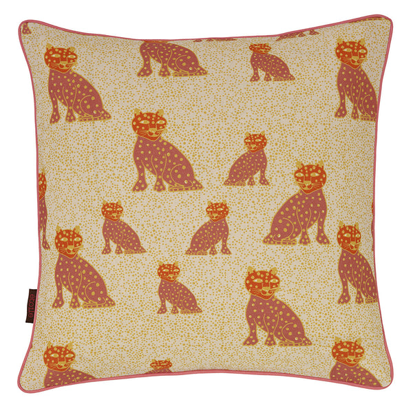 Graphic Leopard Pattern Linen Union Printed Cushion in Coral Pink, Pumpkin and Mustard Yellow