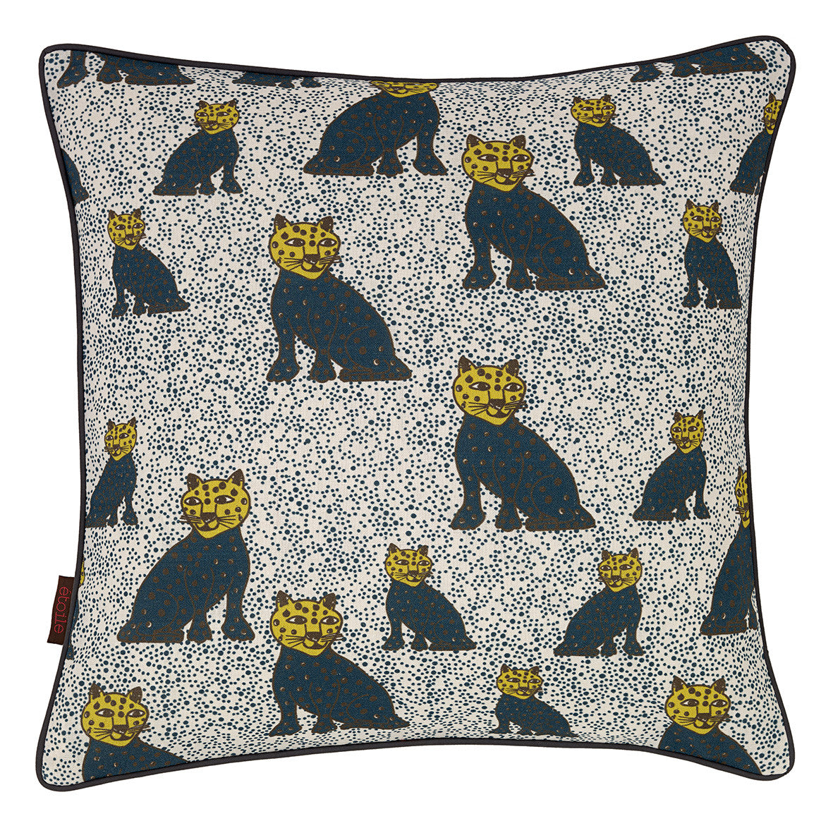 "Graphic Leopard Pattern Linen Union Printed Cushion in Petrol Blue and Chartreuse Yellow 45x45cm (18x18"")"