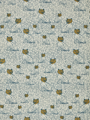 Graphic Leopard Pattern Printed Linen Cotton Canvas Home Decor Fabric in Petrol Blue and Gold for curtains, blinds, upholstery ships from Canada (USA)