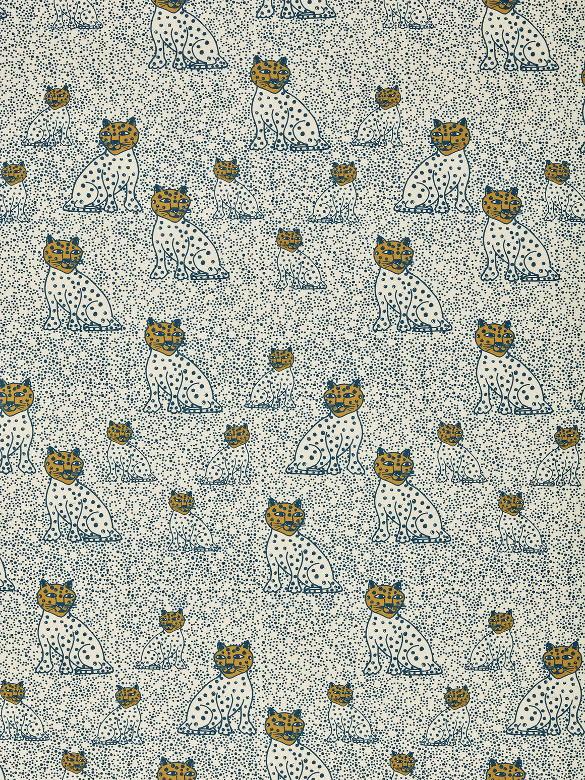 Graphic Leopard Pattern Printed Linen Cotton Canvas Fabric in Petrol Blue and Gold