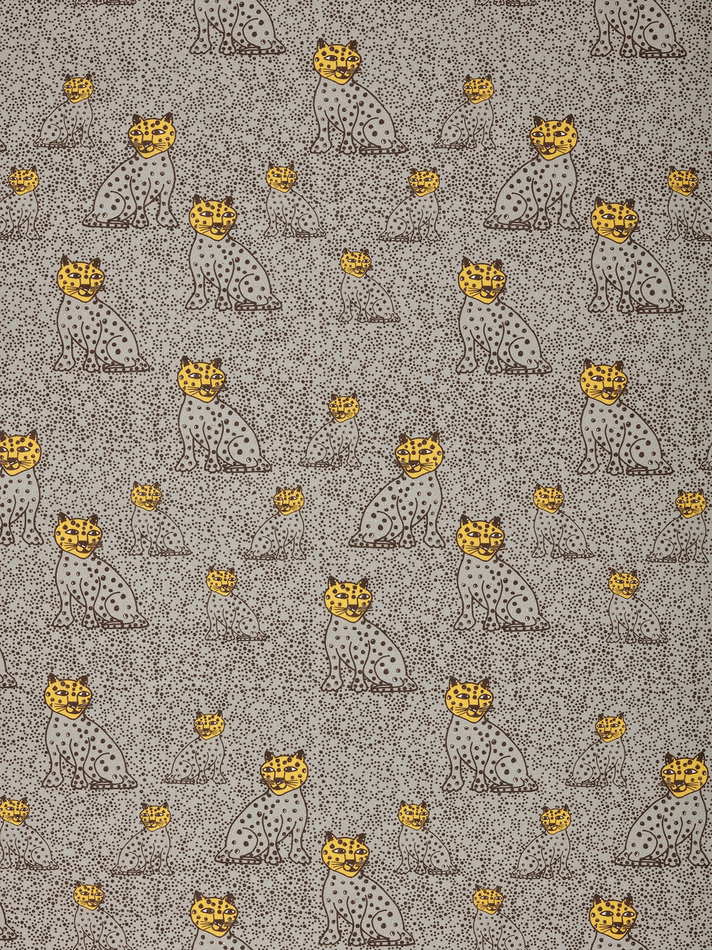 Graphic Leopard Pattern Printed Linen Cotton Canvas Home Decor Fabric by the meter or the yard for curtains, blinds and upholstery in Light Dove Grey & Saffron Yellow ships from Canada (USA)