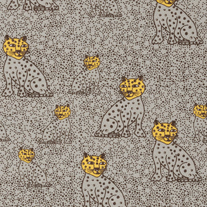 Graphic Leopard Pattern Printed Linen Cotton Canvas Fabric in Light Dove Grey & Saffron Yellow