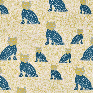 Graphic Leopard Pattern Printed Linen Cotton Canvas Fabric in Petrol Blue, Winter Blue and Mustard Yellow