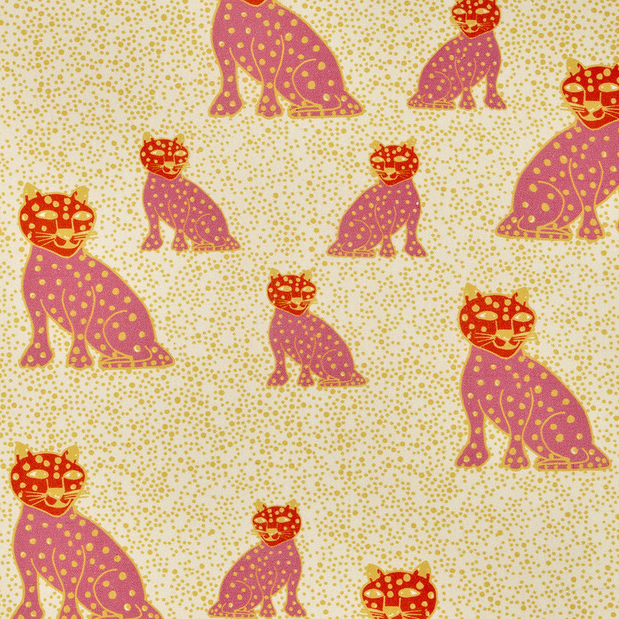Graphic Leopard Pattern Printed Linen Cotton Canvas Fabric in Coral Pink, Pumpkin Orange & Yellow