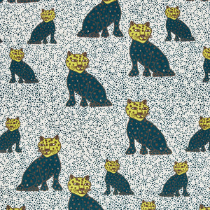 Graphic Leopard Pattern Printed Linen Cotton Canvas Fabric in Petrol Blue and Chartreuse Yellow
