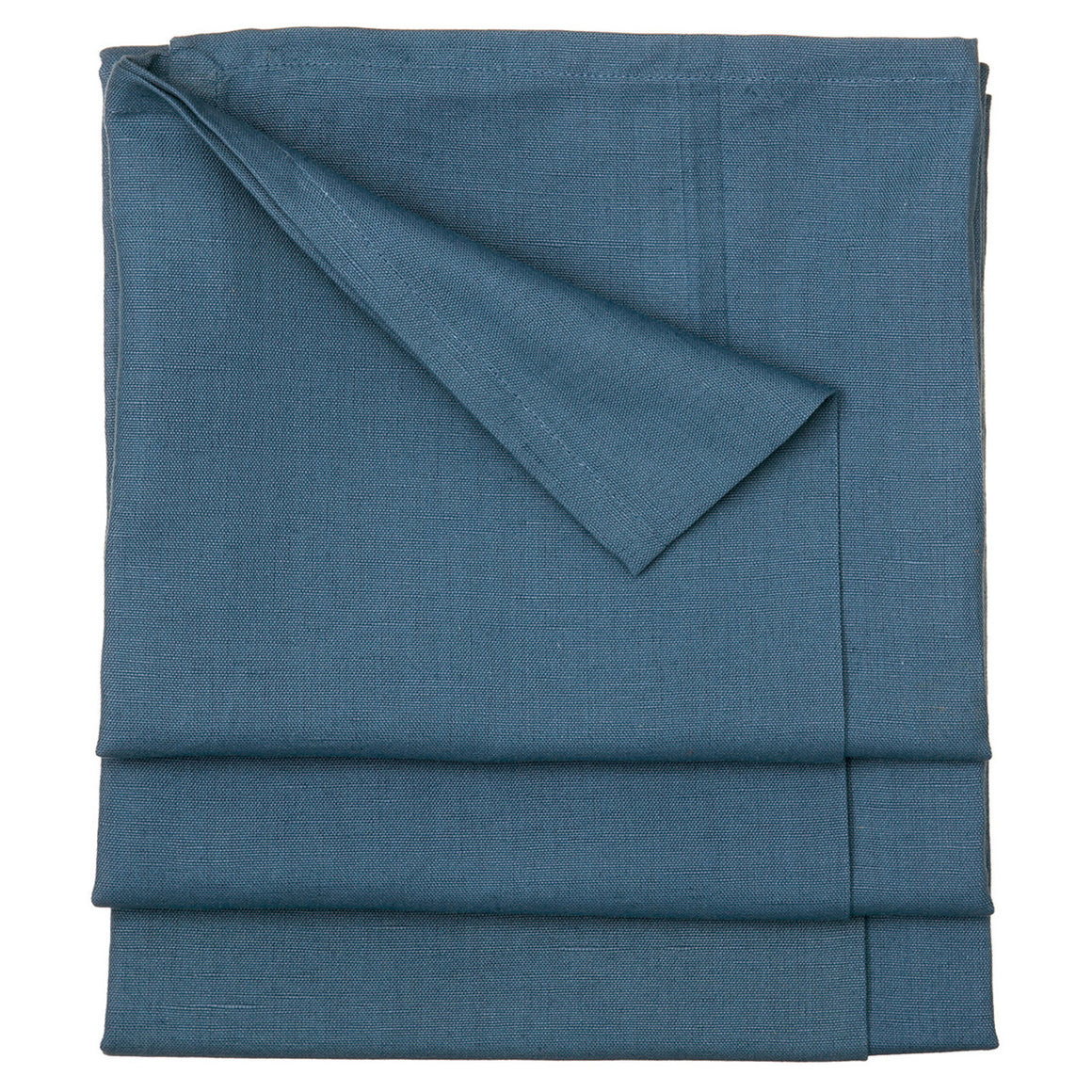 Solid Dyed Linen Cotton Union Tablecloth in Dark Petrol Blue