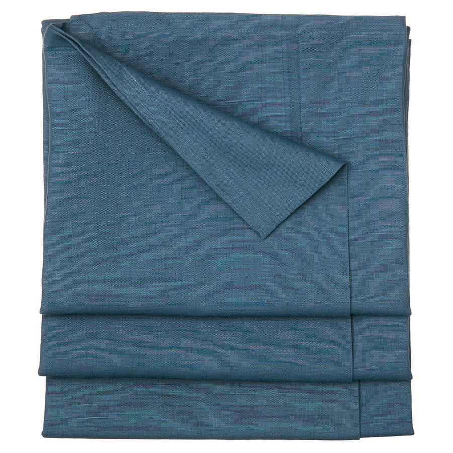 Solid Dyed Linen Cotton Union Tablecloth in Dark Petrol Blue Stain Resistant finish Canada USA