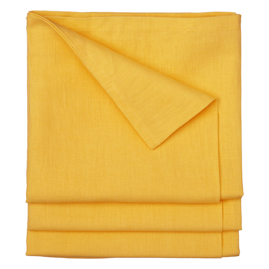 Dyed Cotton Linen Union Tablecloth in Bright Saffron Yellow Canada USA