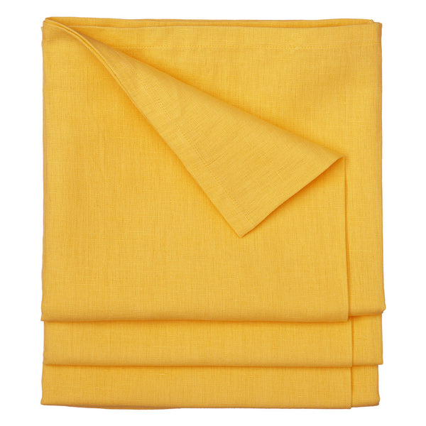Dyed Cotton Linen Union Tablecloth in Bright Saffron Yellow