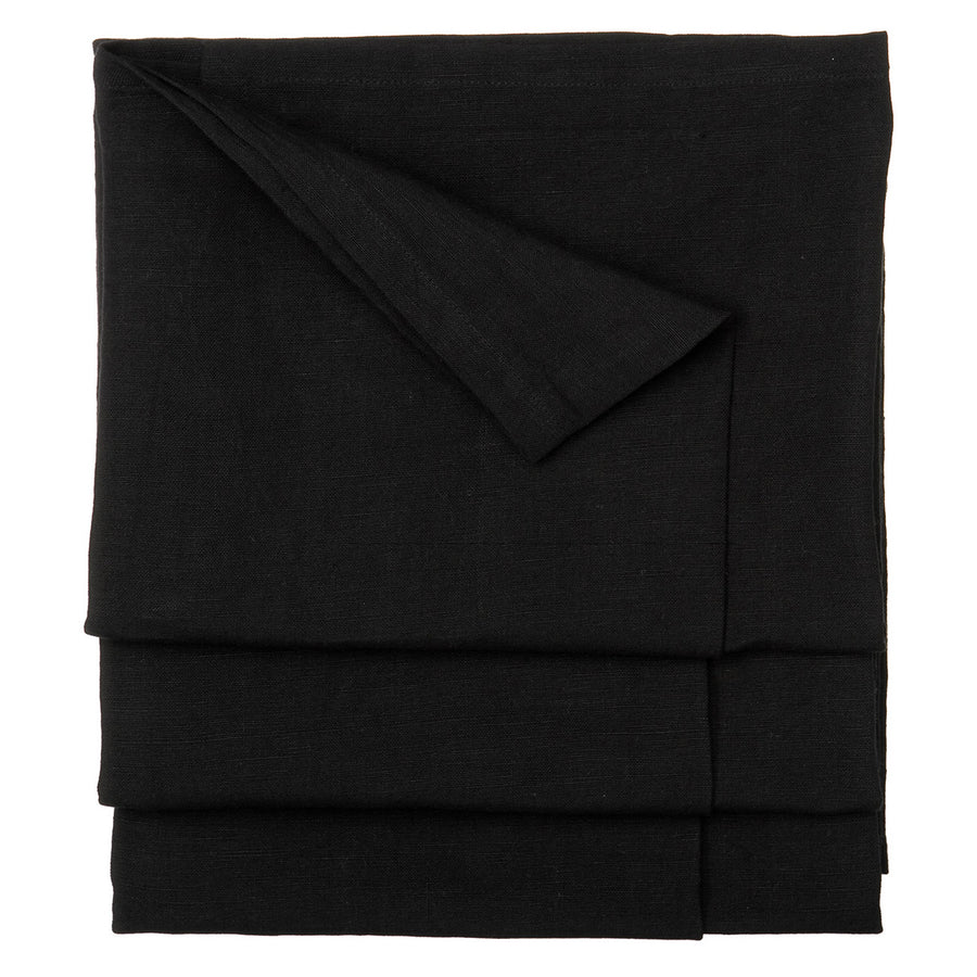 Solid Dyed Linen Union Tablecloth in Black