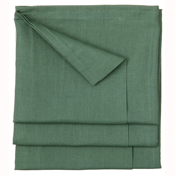 Solid Green Dyed Cotton Linen Tablecloth in Moss Green