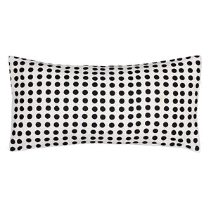 "London Polka Dot Pattern Cotton Linen Rectangle Decorative Throw Pillow in Black 30x60cm (12x24"")"