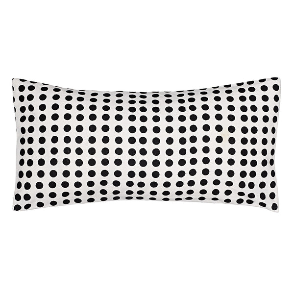 London Polka Dot Pattern Cotton Linen Rectangle Cushion in Black 30x60cm