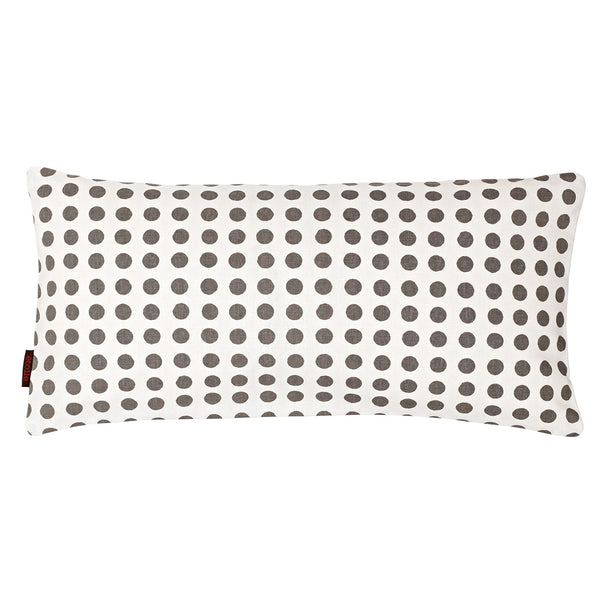 London Polka Dot Pattern Linen Rectangle Cushion in Stone Grey 30x60cm