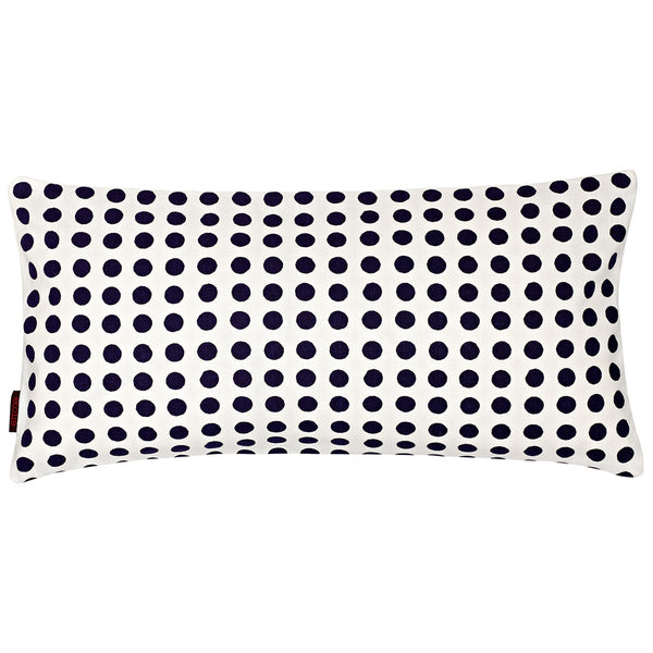 London Polka Dot Pattern Rectangle Cushion in Dark Aubergine Purple 30x60cm