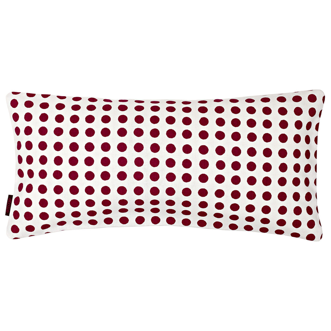 London Polka Dot Pattern Linen Cotton Rectangle Cushion - Vermilion Red 30x60cm