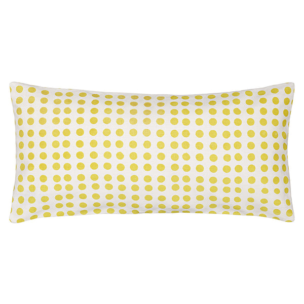 London Polka Dot Pattern Cotton Linen Rectangle Cushion in Bright Maize Yellow 30x60cm