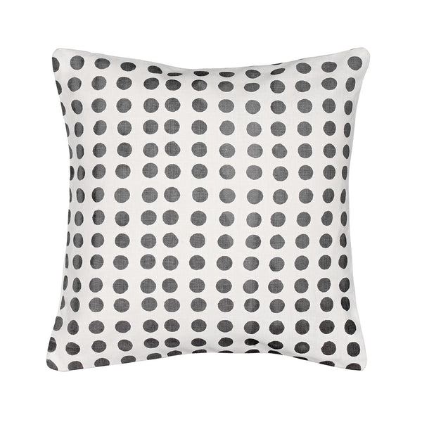 London Polka Dot Pattern Cotton Linen Cushion in Stone Grey 35x35cm