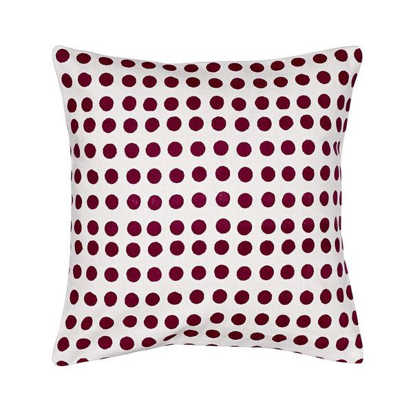 Small London Polka Dot Pattern Cotton Linen Cushion in Dark Vermilion Red 35x35cm