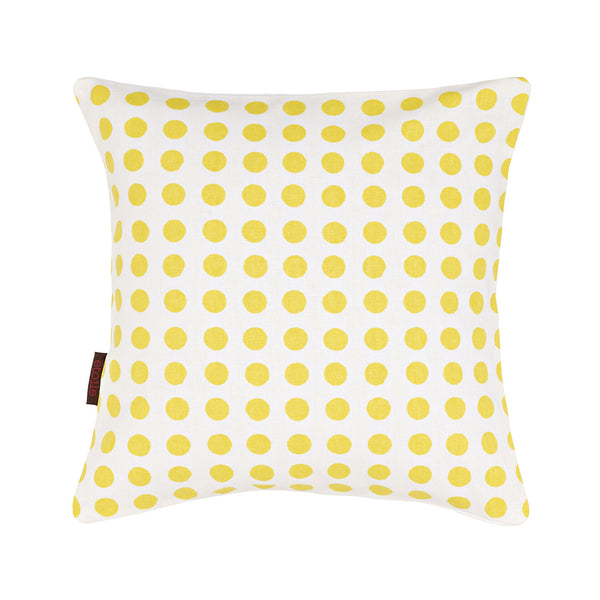 Small London Polka Dot Pattern Cotton Linen Cushion in Bright Maize Yellow 35x35cm