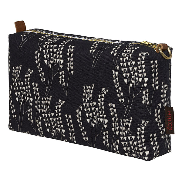 Maricopa Grass Floral Pattern Canvas Wash Bag in Black & Grey