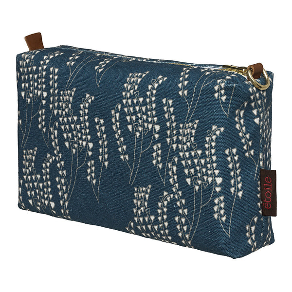 Maricopa Graphic Floral Pattern Canvas Wash Bag in Dark Petrol Blue & Grey