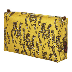 Maricopa Graphic Floral Pattern Canvas Toiletry or Wash Bag in Mustard Gold and Chocolate Brown Perfect for all your cosmetic and beauty needs while travellingShips from Canada (USA)